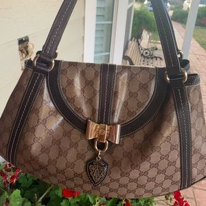 Auth Gucci shoulder bag- Coated GG canvas w charm
